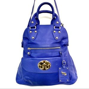 NEW EMMA FOX Royal Blue Leather Fold Over Tote Bag